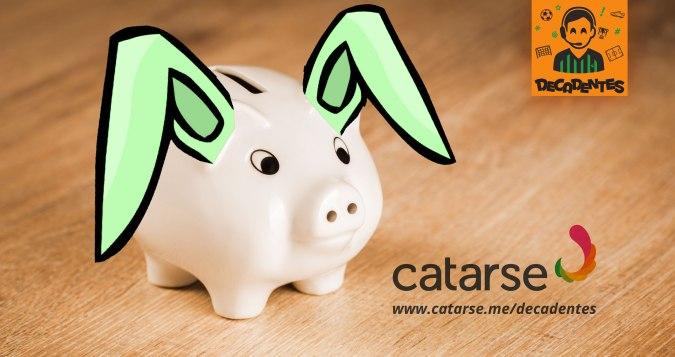 montagem com a foto de um cofre porquinho branco com orelhas de coelho verdes desenhadas