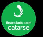 Selo redondo verde com a marca e o texto financiado com Catarse